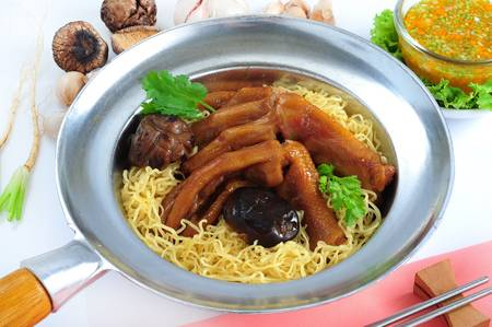 Baked goose leg and egg noodle photo