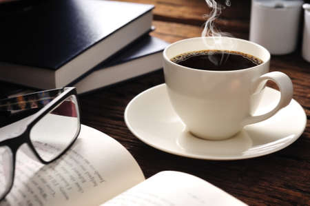 publish: coffee with smoke and books Stock Photo