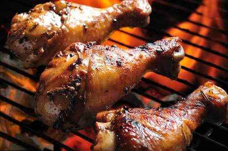 chicken grill: grilled chicken leg on the grill