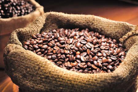 coffee sack: burlap sack of roasted beans Stock Photo