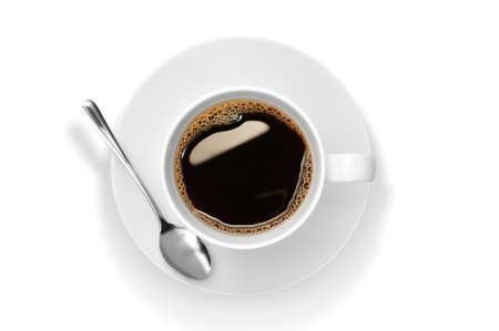 Top view of a cup of coffee, isolate on white Stock Photo - 15158452