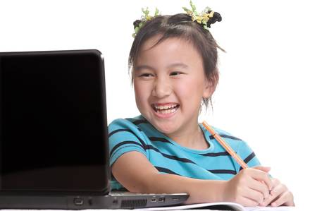 Cute girl with laptop computer photo