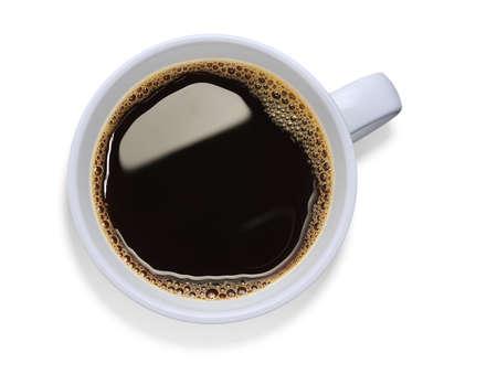 drinking coffee: Vista superior de una taza de caf�, aislado en blanco Foto de archivo