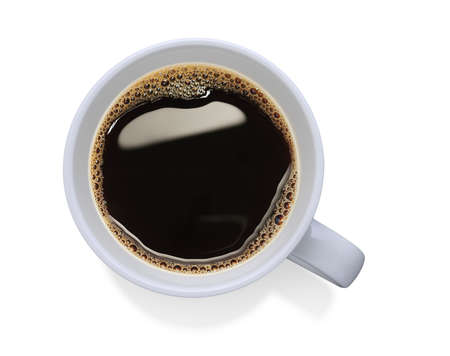 Top view of a cup of coffee, isolate on white photo