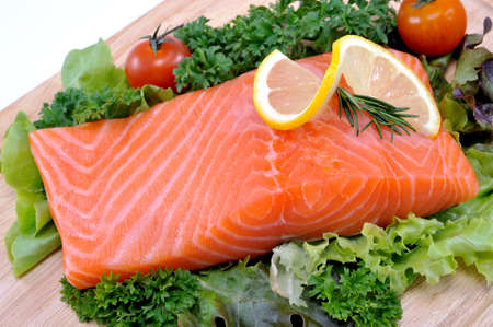 Fresh salmon with vegetables photo