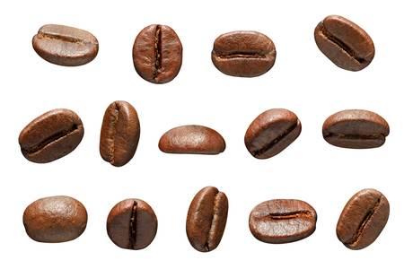 alubias: Los granos de caf? aislado sobre fondo blanco