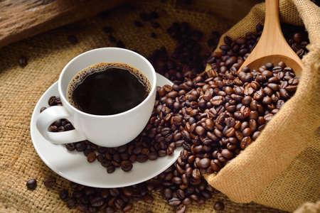 semilla de cafe: taza de caf� y granos de caf�
