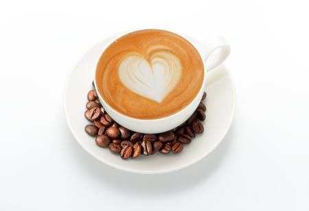 heart heat: latte art and coffee beans, isolate on white Stock Photo