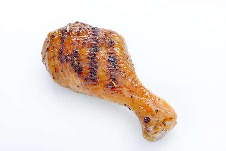 bbq chicken: Grilled chicken leg on white background.