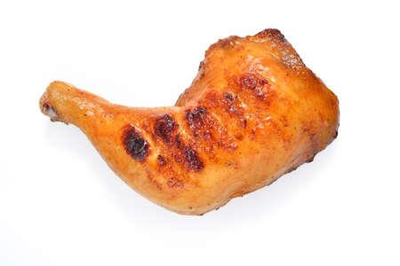 thighs: Muslo de pollo a la parrilla en el fondo blanco.