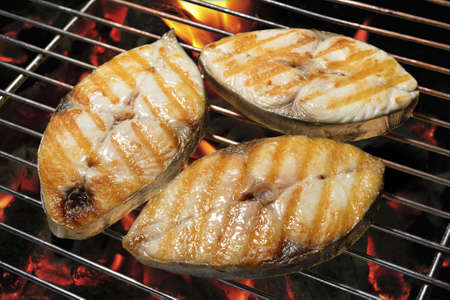 mackerel: Grilled mackerel on the grill