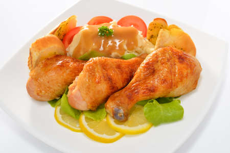 baked potatoes: Grilled Chicken legs with Salad
