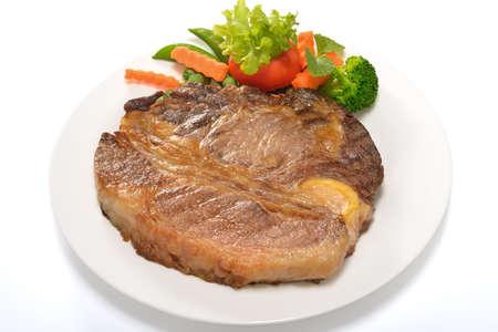 carne asada: Filete de ternera a la plancha con verduras