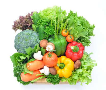 verduras: frutas y hortalizas aislados sobre un fondo blanco