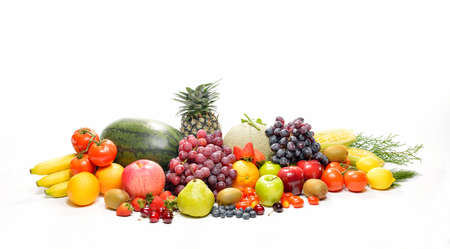 fresh fruits: fruits and vegetables isolated on white