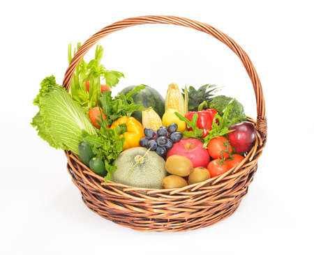 basket: fruits and vegetables in basket isolated on white
