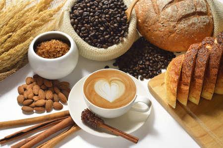 Cafe latte with latte art Stok Fotoğraf