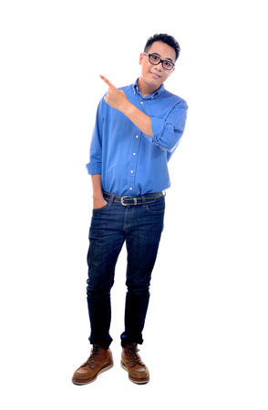 standing people: Young man pointing to the left