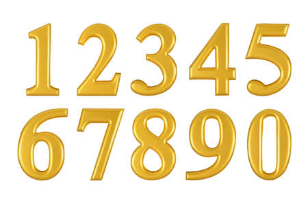 Gold wooden numbers on white background, Photograph photo