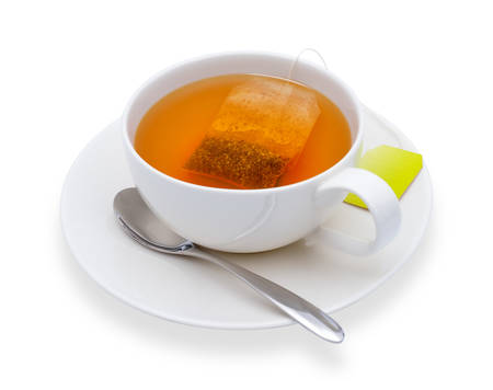 Cup of tea with tea bag, isolate on white Reklamní fotografie
