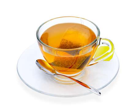 Tasse Tee mit Teebeutel, isolieren auf weiß Lizenzfreie Bilder