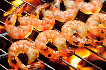 Grilled shrimps on the flaming grill Banco de Imagens