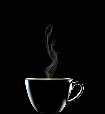 Cup of coffee with smoke isolated on black background