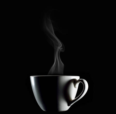 Cup of coffee and heart-shape shadow with smoke on black background Banco de Imagens