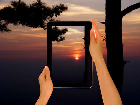 Woman hands holding tablet pc taking photo in nature photo