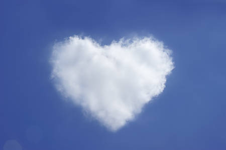cloud shape: Heart shape cloud on blue sky Stock Photo