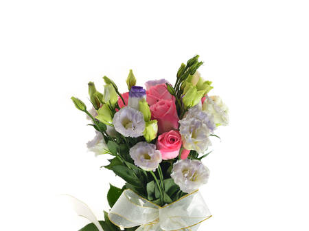 Bouquet of rose and lisianthus flowers on white background photo