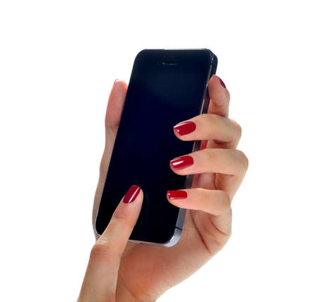 Woman hand holding mobile phone isolated on white Stock Photo