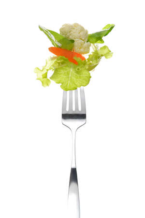 mixed fruits: Mixed salad on fork isolated on white