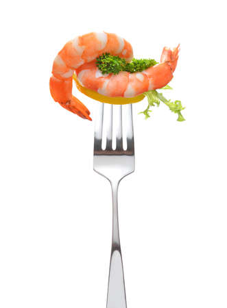 shrimp: Mixed salad on fork isolated on white