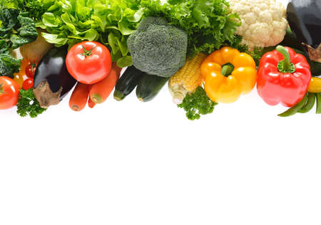 vegetables white background: Vegetables and fruits isolated on white background