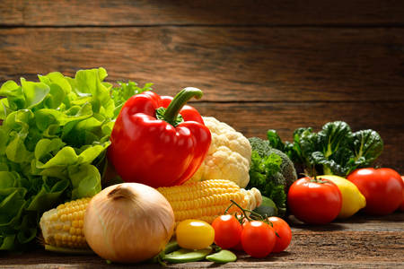 Vegetables and fruits on old wooden background Stok Fotoğraf - 38781717