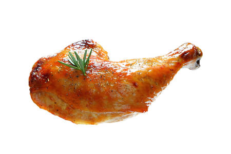 Grilled chicken thigh isolated on white background Stock Photo