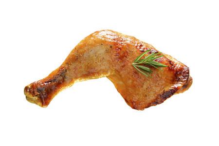 Gegrilde kip dij op een witte achtergrond Stockfoto