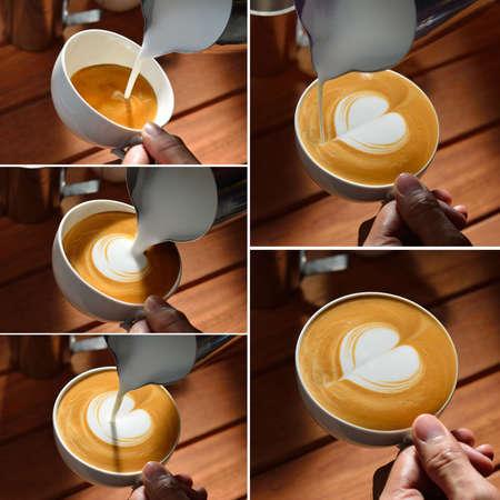 Steps of making latte art