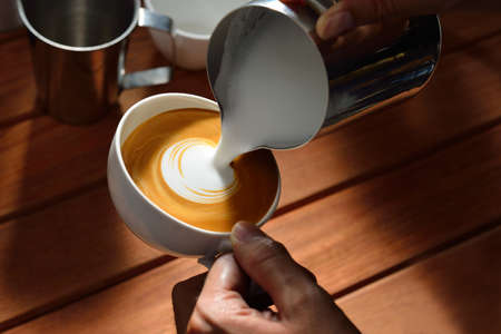 cafe latte: Making of cafe latte art Stock Photo