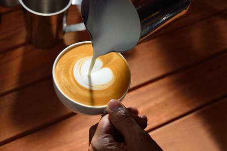 Making of cafe latte art 스톡 콘텐츠