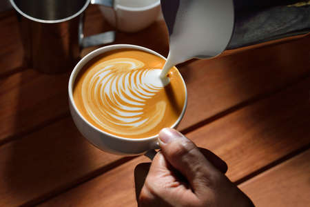 latte art: Making of cafe latte art  Leaf shape Stock Photo