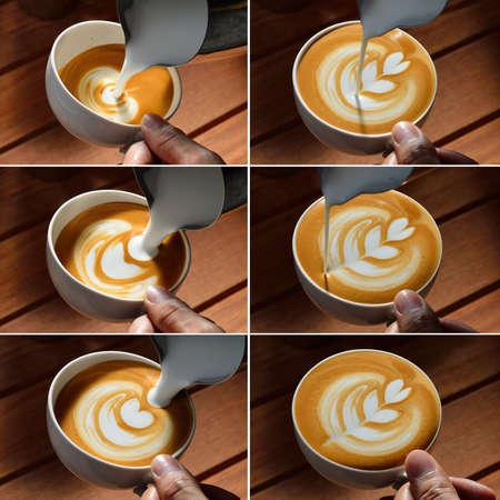 tulipan: Etapy podejmowania cafe latte sztuki kształcie tulipana