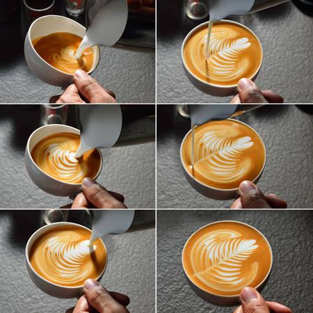 leaf shape: Steps of making latte art  leaf shape