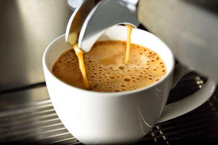 Coffee machine making coffee in a coffee shop