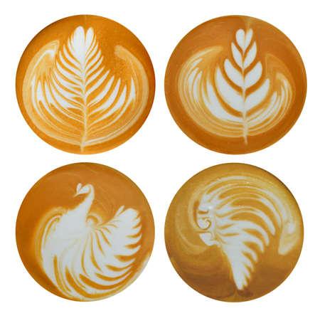 Set Blatt Tulpe Vogel Indianer Latte Art Kaffee isoliert auf weißem Hintergrund Standard-Bild
