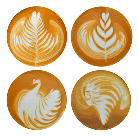 Set of leaf  tulip  bird  red indian latte art  coffee isolated on white background Imagens