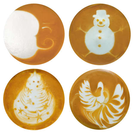Set of moon  snowman  christmas tree  swan latte art  coffee isolated on white background