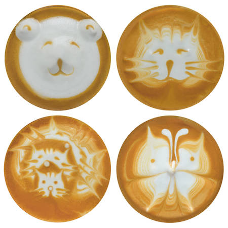 latte art: Set of bear  cats  butterfly latte art  coffee isolated on white background Stock Photo