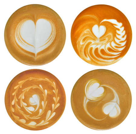 Set of heartshaped latte art  coffee isolated on white background Imagens